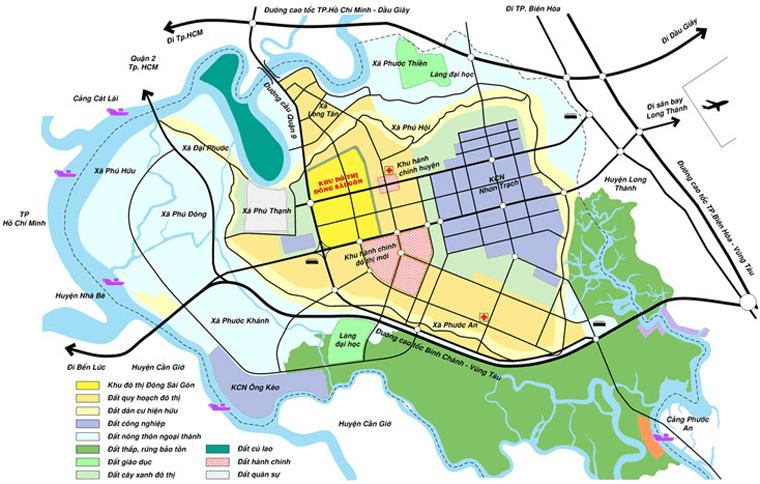 vị trí dự án Đông Sài Gòn tại trung tâm TP Mới Nhơn Trạch